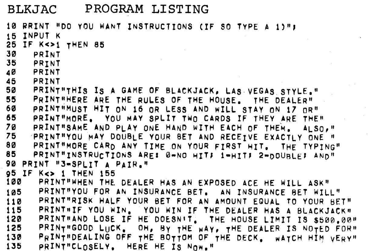 BLKJAC Program Example